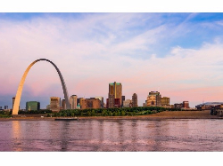 The Mississippi river and The Arch in St. Louis.