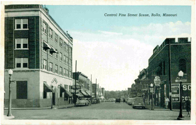 Old photo of Pine Street in Rolla, Mo.
